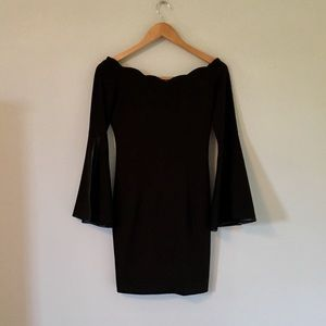 Off-Shoulder LBD with Flare Sleeves